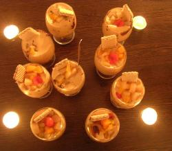 cup sized desserts with fruit toppings