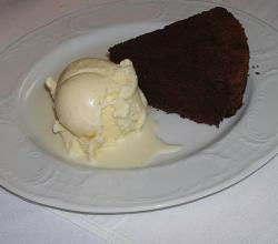 Deflour rhum chocolate cake and vanilla ice cream