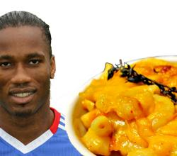 Didier Drogba with Mac n Cheese