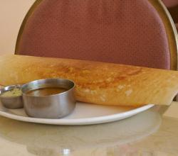 Dosa with Chutney and Sambhar