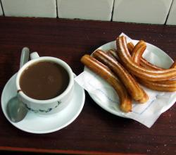 Jardinière's tequila hot chocolate with Churros