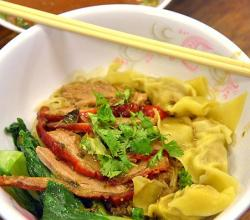 egg noodles with red roast duck and wonton noodle
