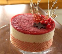 Eggnog mousse cake with almond dacquoise
