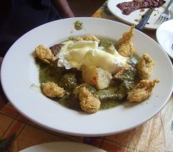 Eggs Florentine with fried oysters