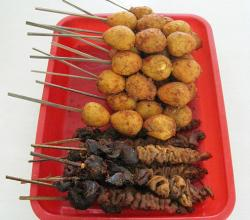 eggs satay and the chicken liver