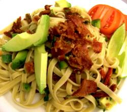 Fettuccine with Bacon and Avocado