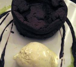 Flourless Chocolate Cake with Bourbon Vanilla Ice Cream