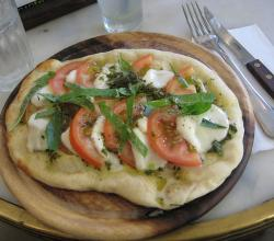Foccacia with mozzarella and tomatoes