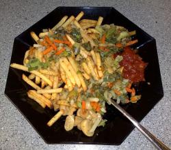French fries and vegetables admixture