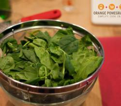 Baby Spinach for Pasta Carbonara Florentine by Orange Pomegranate