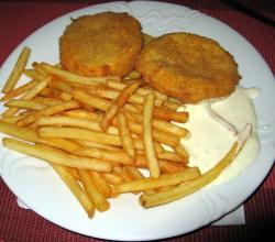 Fried cheese, tartar sauce, fries