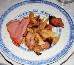 Fried Sausage and Rashers with Horseradish