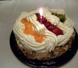 Fruit and Cheese Topping Birthday Cake