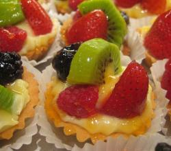 Fruit pastry with kiwi, strawberry and blackberry
