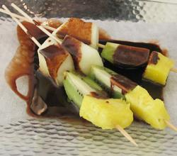 Fruits Brochette with Warm Chocolate