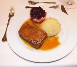 Goose breast with dumpling and red cabbage