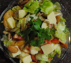 Garden Salad with Fruits, Nuts and Cheese in Lime Juice and Olive Oil Dressing