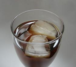 Iced tea with ice cubes