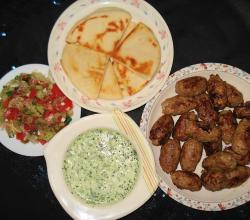 Kafta with Salad, Chutney and Pita Bread
