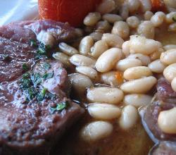 Lamb dishes and Beans