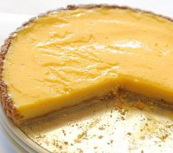 Lemon curd tart with crumbs