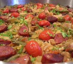 Paella with Chorizo and Roast Chicken