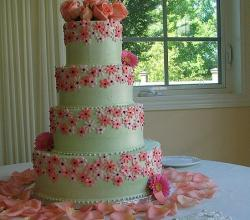 Pink decorated wedding cake tiered