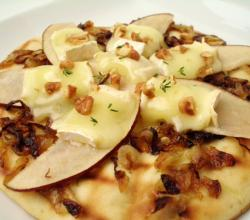 Thyme Caramelized Onion, Brie, Pear and Candied Walnut Pizza