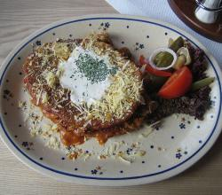 Placki ziemniaczane polish potato pancake and goulash dish