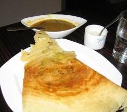 Masala Dosa with Sambhar and Chutney