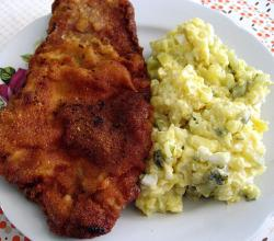Pork schnitzel and potato salad
