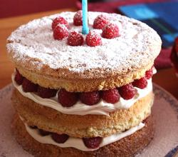 Raspberry and cream sponge birthday cake