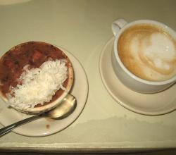 Red beans & rice and cappuccino