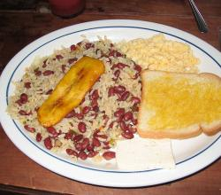 rice and beans with eggs