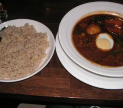 Rice and Soup curry with natto and okra