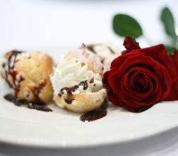Rose dessert with profiteroles