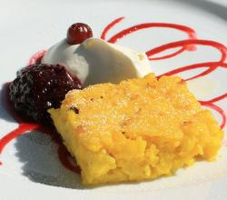 Saffron pancake with dewberry