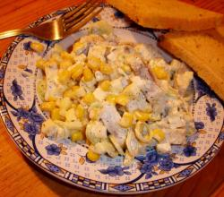Salad with herring and corn