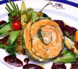 Salmon And Leek Roulade With Shellfish Mash And Beetroot St