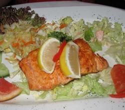 Salmon with garnish