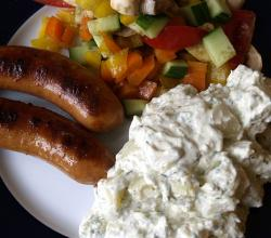 Sausages with salad