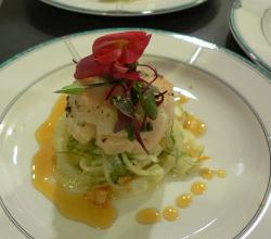 Scallop with fennel and tangerine gastrique
