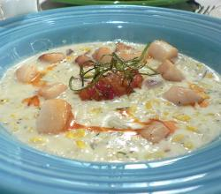 Scallops corn chowder