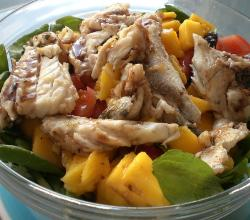 Sea bass, mango and spinach salad