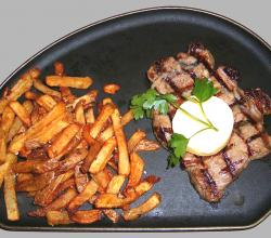 Sirloin steak with garlic butter and french fries