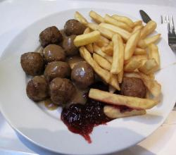 Swedish meatballs and  French Fry
