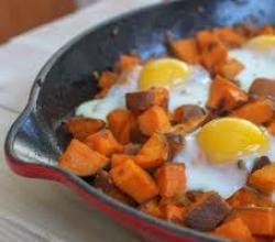Spicy Sweet Potato Hash & Eggs