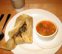 Tamale and squash soup