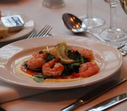 Tiger Prawns with spinach, saffron cream and chilli