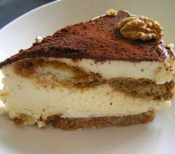 Tiramisu with walnut garnish